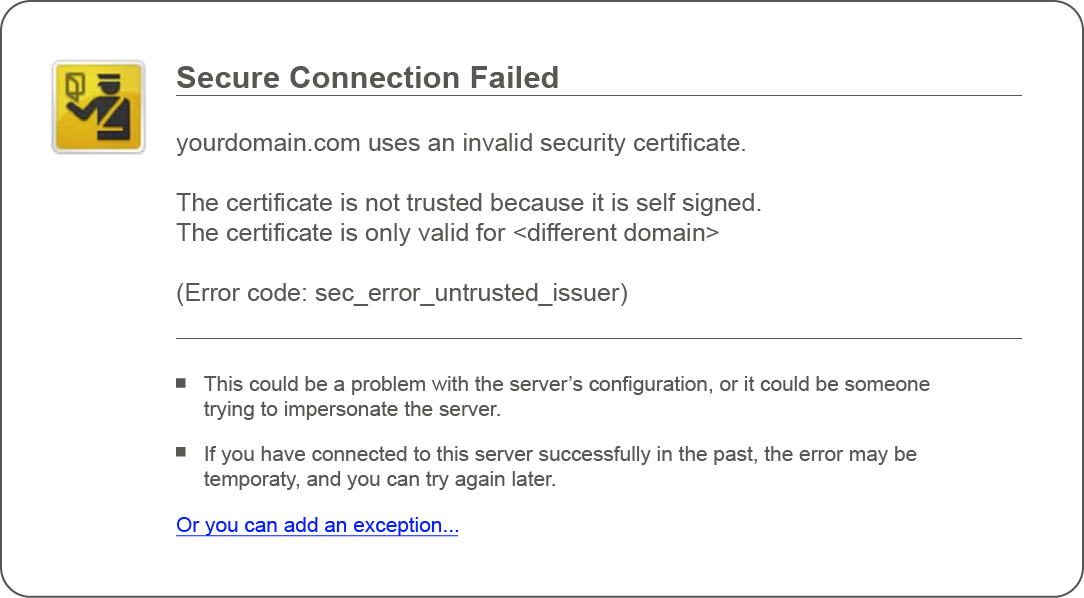 SSL Certificate Warning